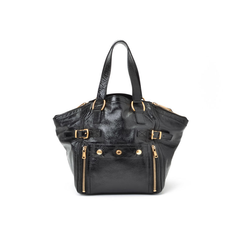 91e90e02c1b LXRandCo guarantees this is an authentic vintage Yves Saint Laurent  Downtown tote shoulder bag. This stylish purse was crafted in patent leather  in black.
