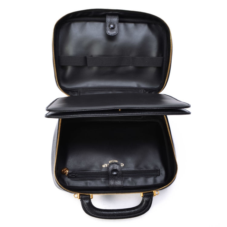 fafdd6a1684bb2 LXRandCo guarantees this is an authentic vintage Chanel CC Two Way Vanity  Bag vanity case & pouch. This beautiful toiletry bag in black is made in  caviar ...
