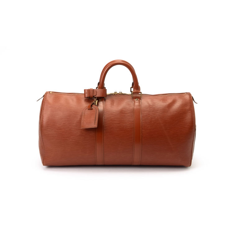440ced6a5a74 ... guarantees the authenticity of this vintage Louis Vuitton Keepall 45  travel bag. This practical travel bag in beautiful brown is made in epi  leather.