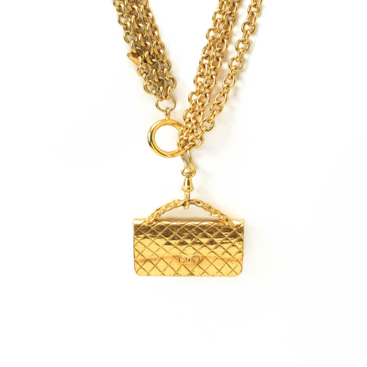 3d0c5ebfb2eeee Chanel 2.55 Flap Bag Charm Necklace 24k Gold Plated On Brass ...