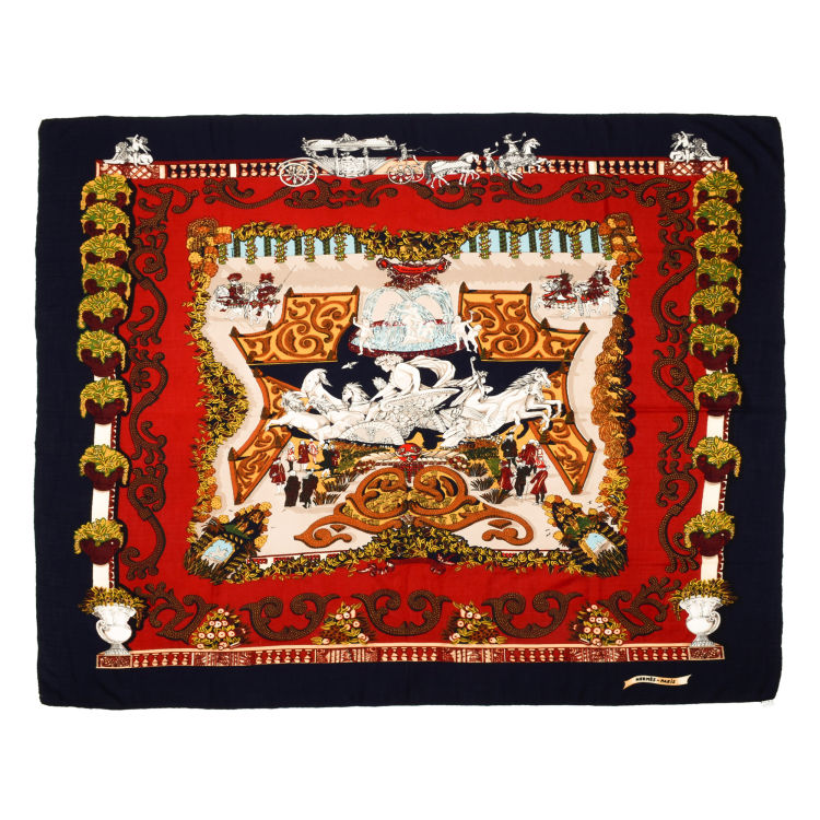 1e421fbb504 The authenticity of this vintage Hermès Le Paradis Du Roy scarf is  guaranteed by LXRandCo. Iconic scarf. Due to the vintage nature of this  product