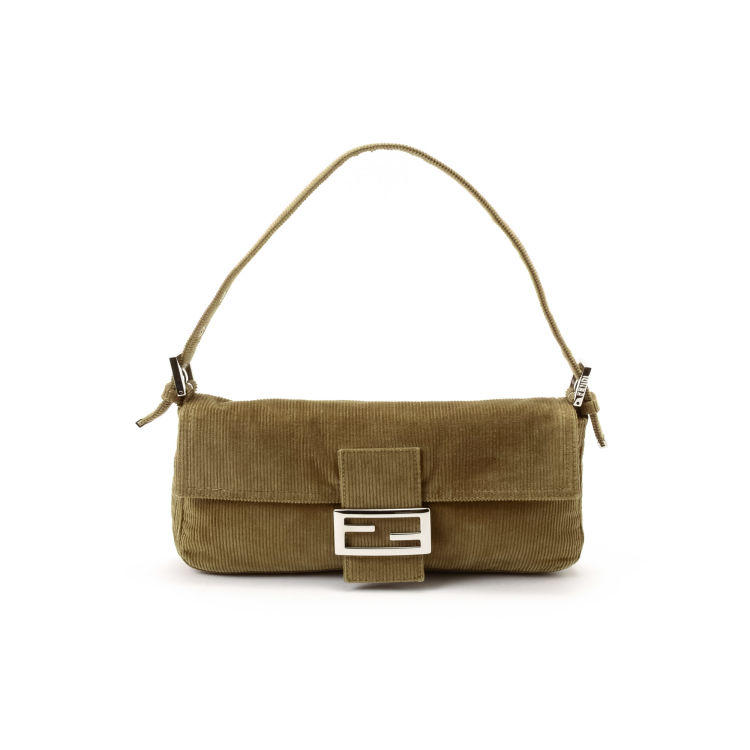 9ae2d10dec71 LXRandCo guarantees the authenticity of this vintage Fendi Baguette  shoulder bag. Crafted in corduroy
