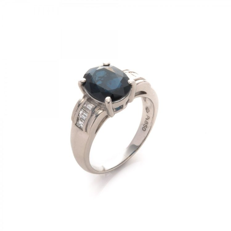 04d84d8c7 LXRandCo guarantees the authenticity of this vintage Estate Jewelry  Sapphire and Diamond ring. This practical band was crafted in platinum in  beautiful ...