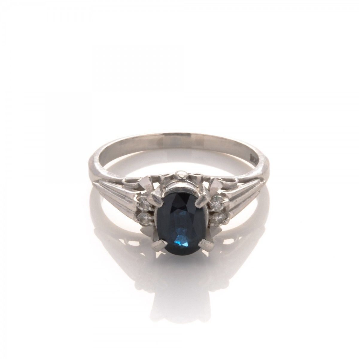 ring sapphire jewelry diamond oval s natural platinum and vintage product blue ct
