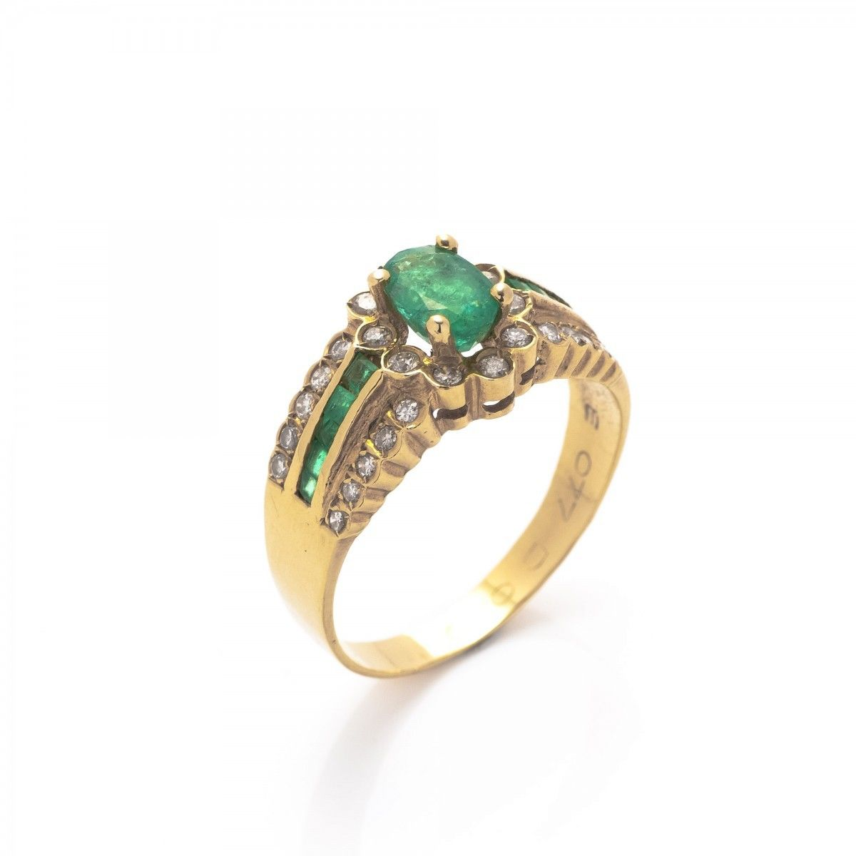 emeralds ring pic emerald gold vintage f lane ruby diamonds jewelry estate