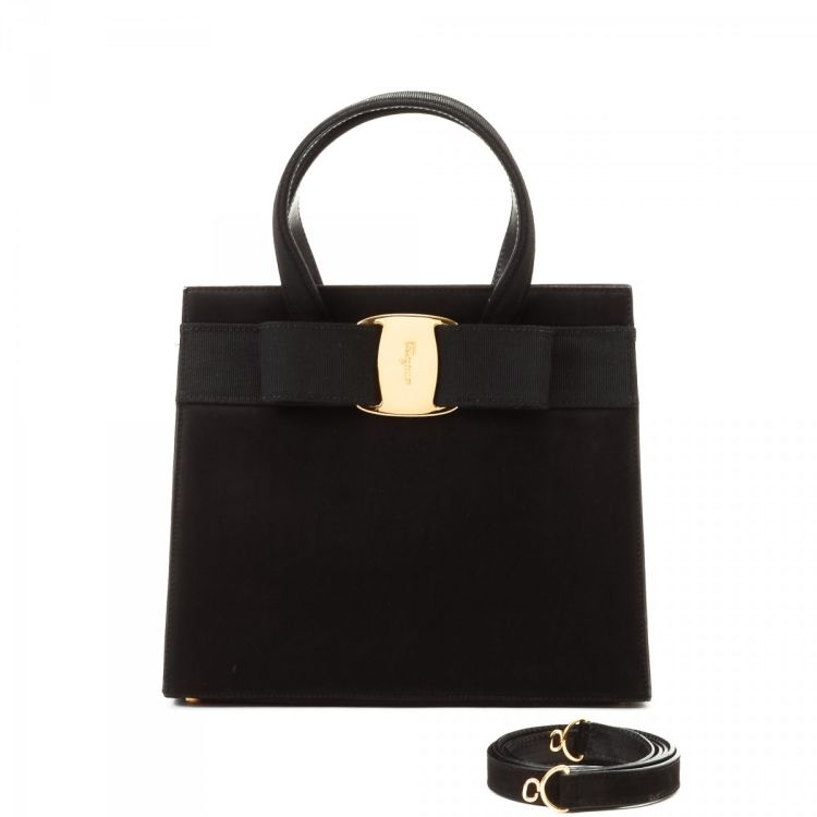 LXRandCo guarantees this is an authentic vintage Ferragamo Vara Bow Two Way  Bag handbag. Crafted in suede dafebe07469df