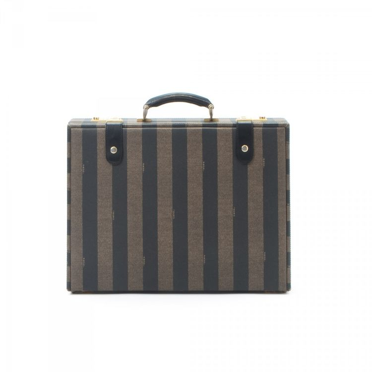 0e2792748859 LXRandCo guarantees this is an authentic vintage Fendi briefcase. Crafted  in pequin coated canvas