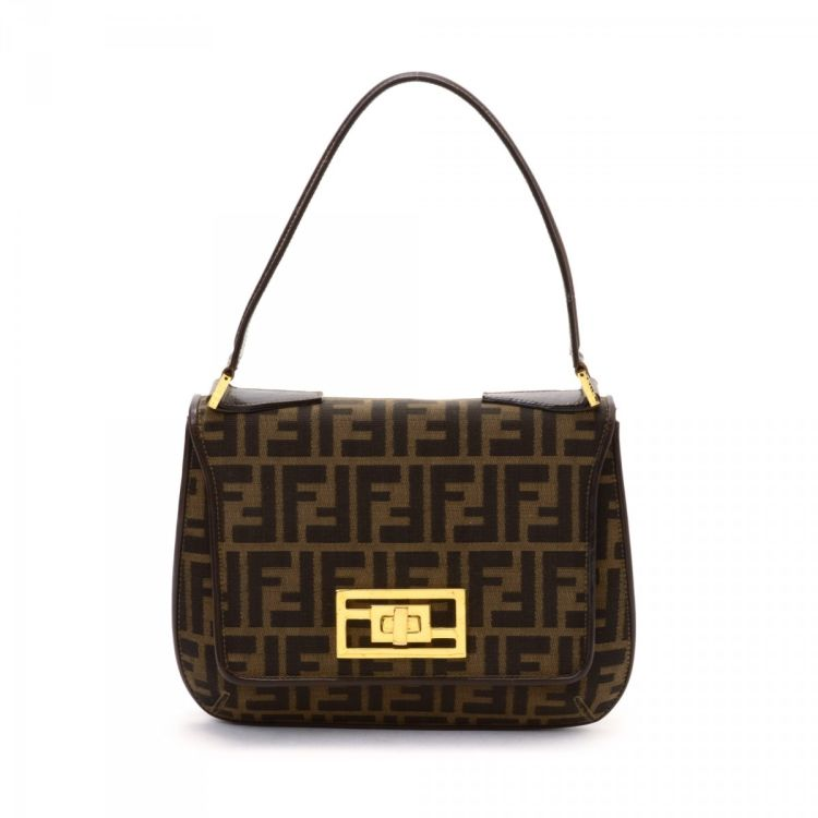 014e6e3c5077 LXRandCo guarantees the authenticity of this vintage Fendi handbag. This  elegant bag was crafted in zucca canvas in brown. Due to the vintage nature  of this ...