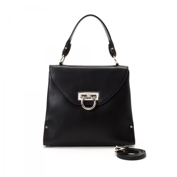 LXRandCo guarantees this is an authentic vintage Ferragamo Two Way Bag  handbag. This signature purse was crafted in gancini leather in black. 8893005d8a08f