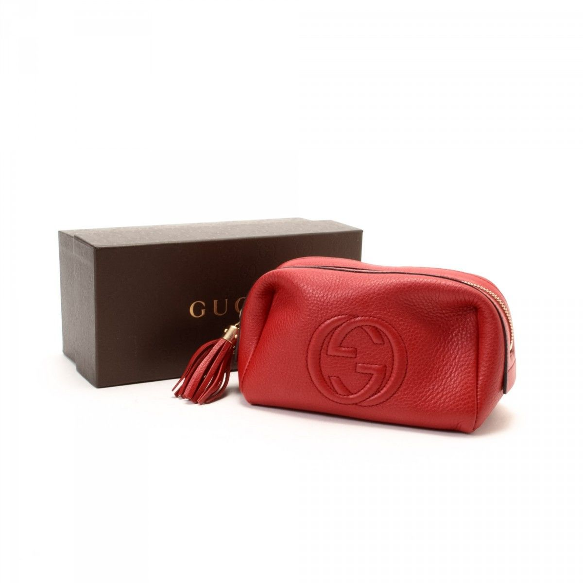 febea9b628d Gucci Soho Medium Cosmetic Pouch Leather - LXRandCo - Pre-Owned ...