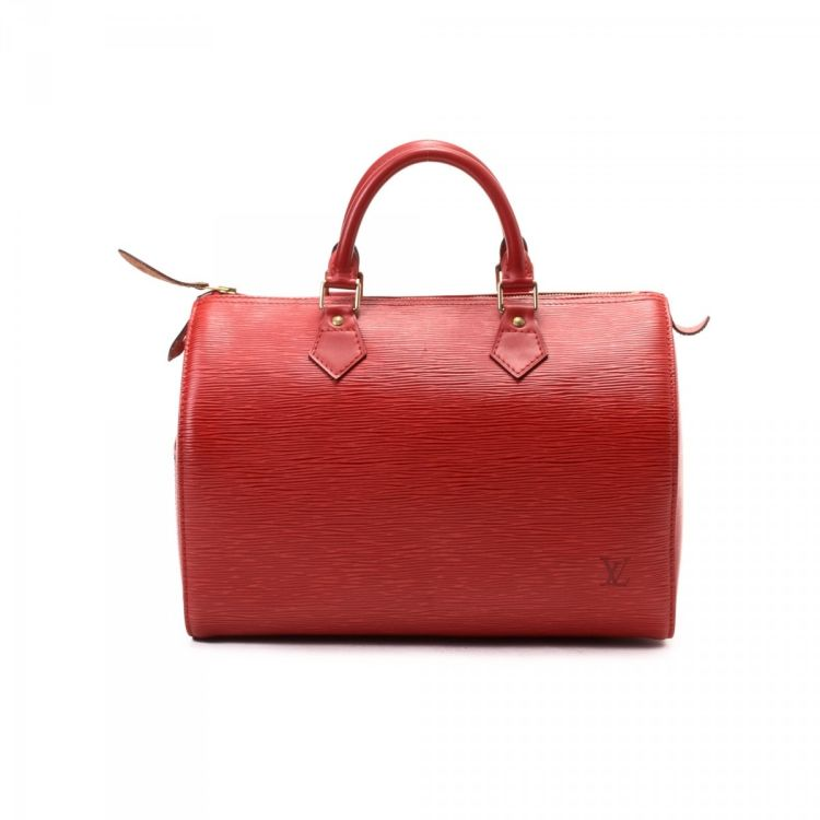 122f84d548b LXRandCo guarantees the authenticity of this vintage Louis Vuitton Speedy 30  travel bag. This beautiful boston bag in red is made in epi leather.