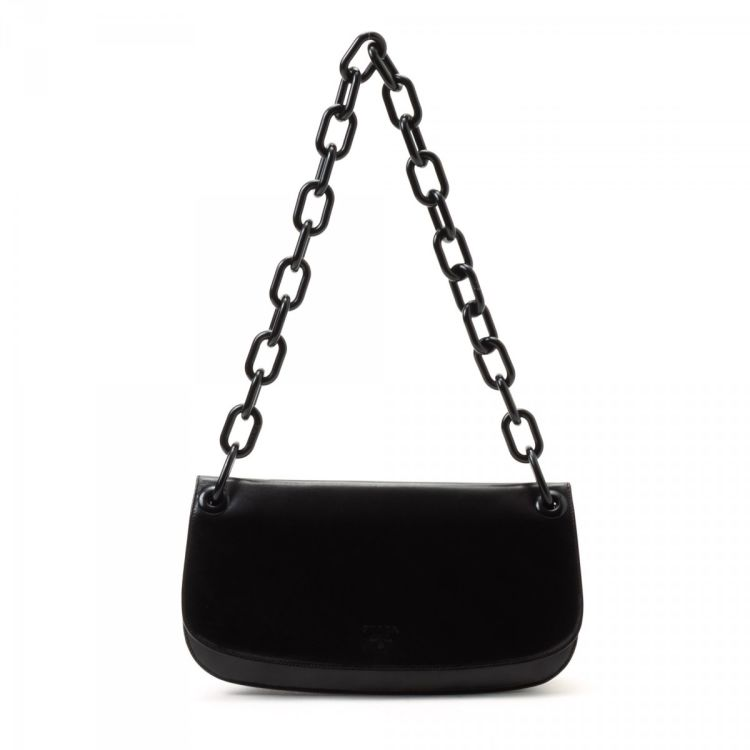 0c9051203f1724 The authenticity of this vintage Prada Madras Swing shoulder bag is  guaranteed by LXRandCo. This iconic shoulder bag comes in black leather.