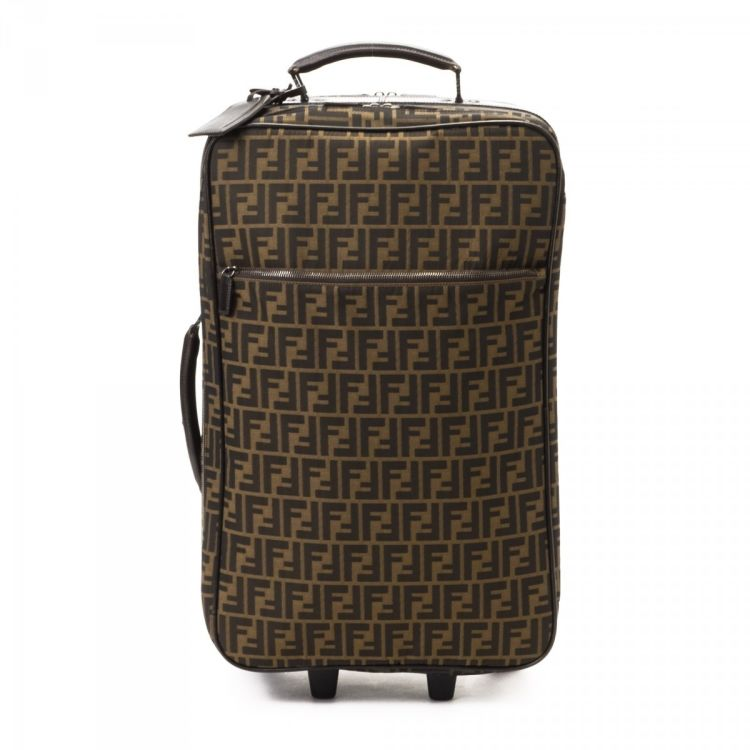 LXRandCo guarantees this is an authentic vintage Fendi Suitcase trunk.  Crafted in zucca canvas 92ff604563d50