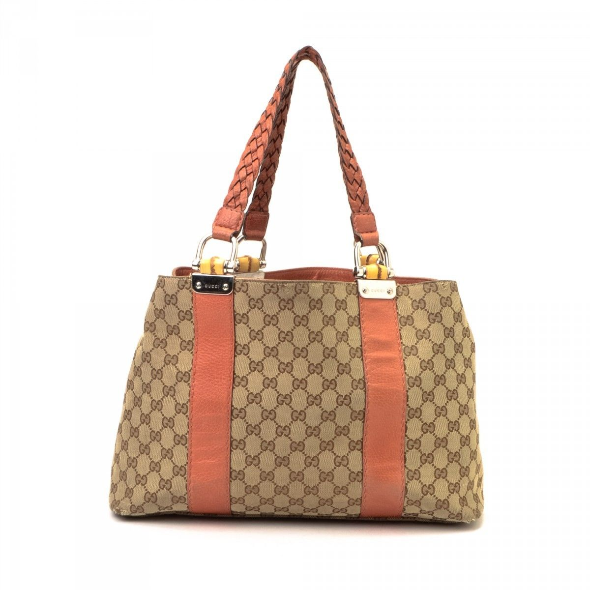 80178f504be Gucci Bamboo Bar Tote. LXRandCo guarantees this is an authentic vintage  Gucci Bamboo Bar tote. This beautiful work bag in beige is made in gg canvas .