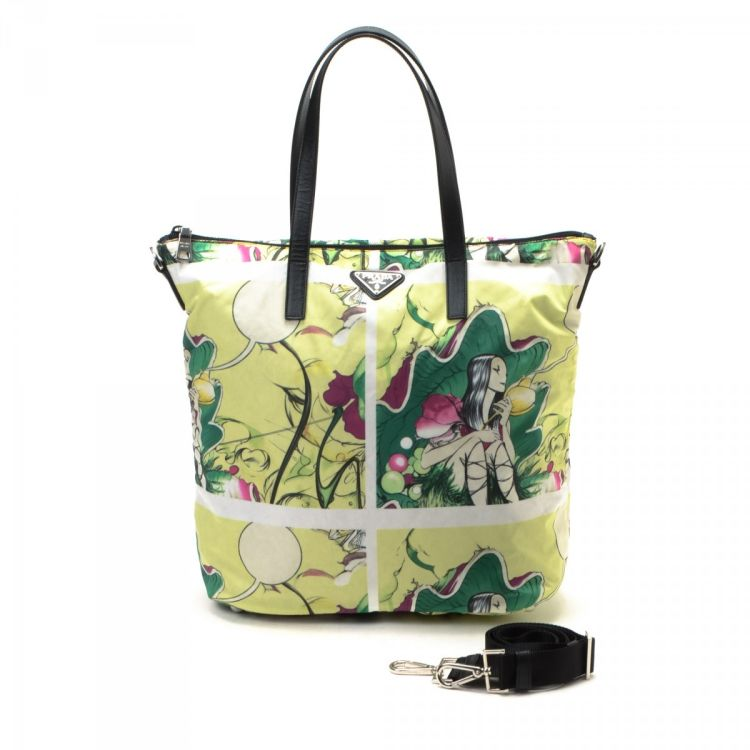 0c2a858cfbe1 The authenticity of this vintage Prada Tessuto Fairy Fairies Two Way tote  is guaranteed by LXRandCo. This iconic tote bag in light green is made of  nylon.