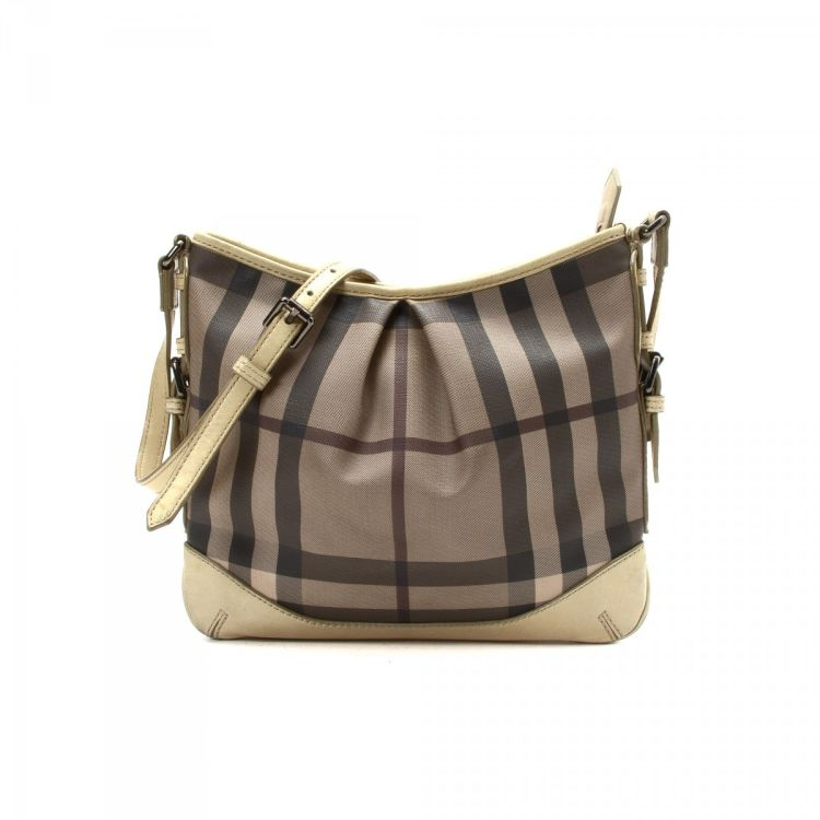 f0bb1cf9d470 Burberry Smoked Check Crossbody Bag Coated Canvas - LXRandCo - Pre ...