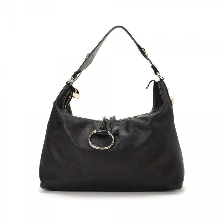 3a9a7d8581f40 LXRandCo guarantees the authenticity of this vintage Gucci Icon Bit Hobo Bag  shoulder bag. Crafted in guccissima leather