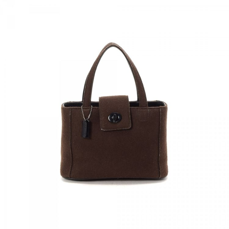 5490a98ea866 The authenticity of this vintage Coach handbag is guaranteed by LXRandCo.  This classic bag in dark brown is made of felt. Due to the vintage nature  of this ...