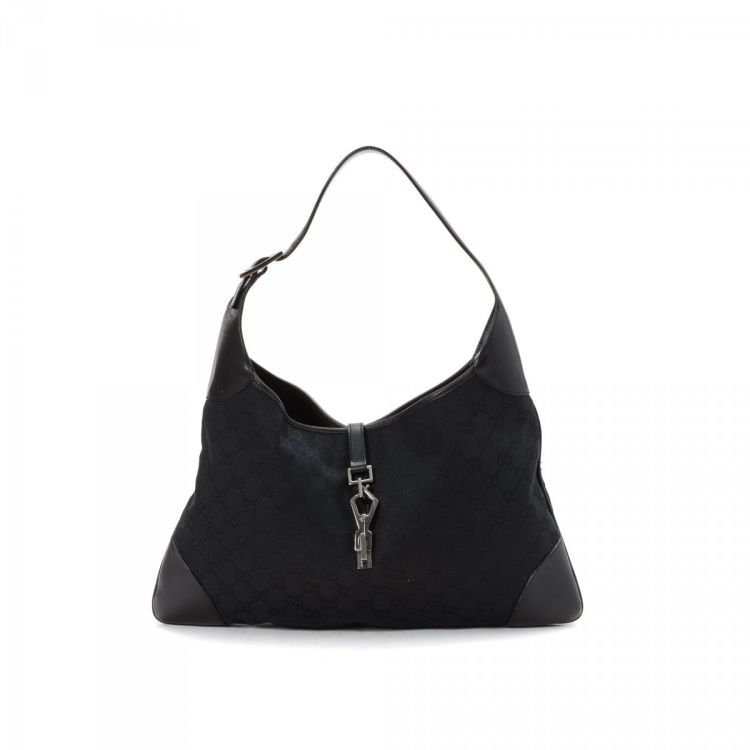 LXRandCo guarantees this is an authentic vintage Gucci Jackie O shoulder bag.  This everyday purse was crafted in guccissima canvas in black. 9e98f5944e0e9