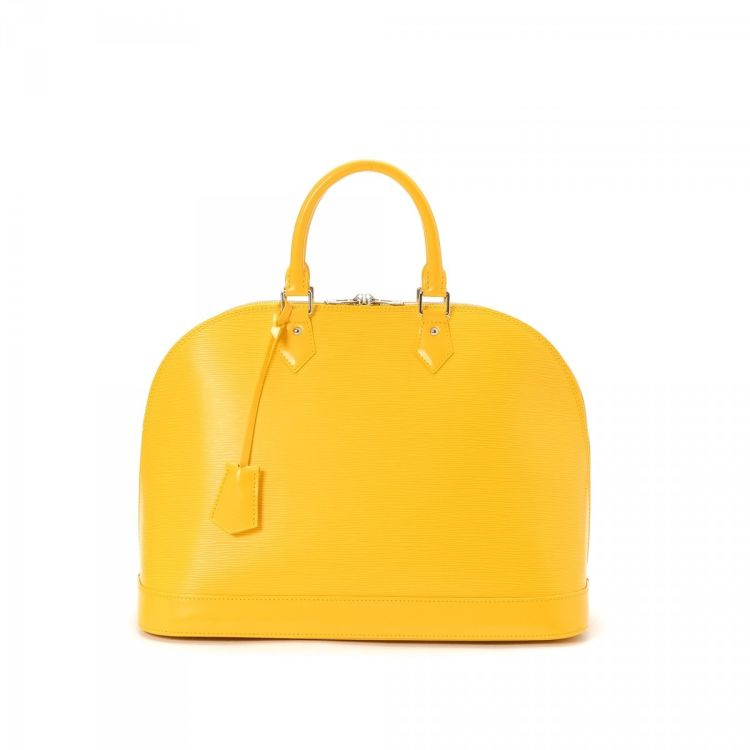 536abc216f49 LXRandCo guarantees this is an authentic vintage Louis Vuitton Alma GM  handbag. This beautiful bag in yellow is made in epi leather.