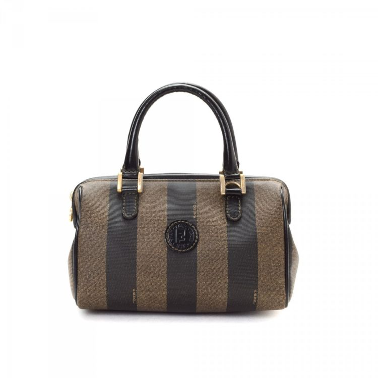 The authenticity of this vintage Fendi Small Striped Boston Bag travel bag  is guaranteed by LXRandCo. Crafted in coated canvas f0150cfc99a01