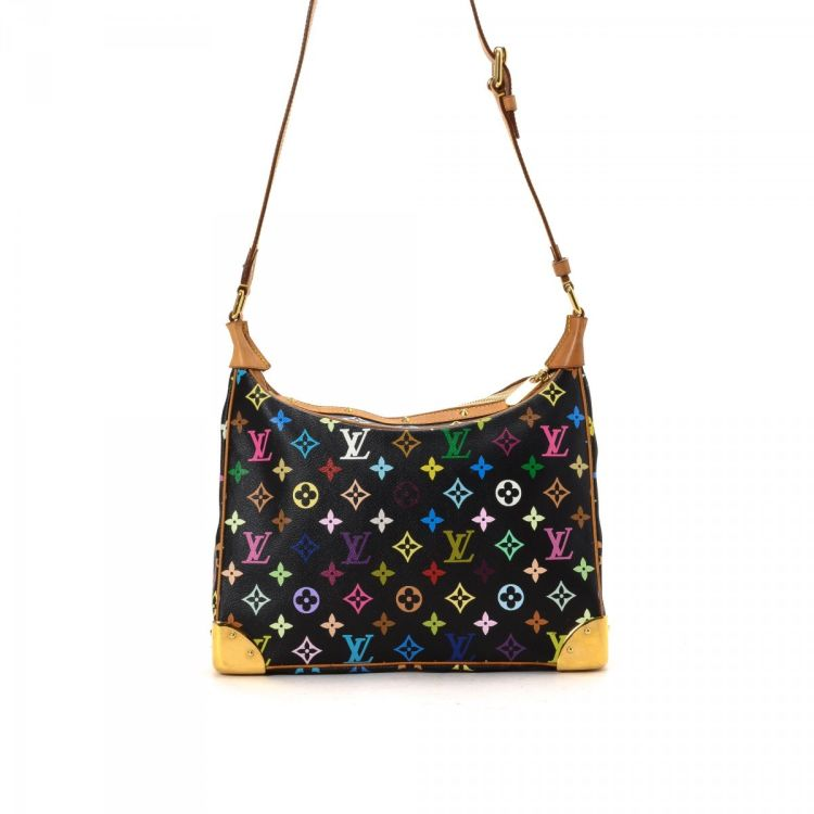 bc4b93515a36 ... an authentic vintage Louis Vuitton Boulogne 30 shoulder bag. This  sophisticated purse in beautiful black is made in monogram multicolore  coated canvas.