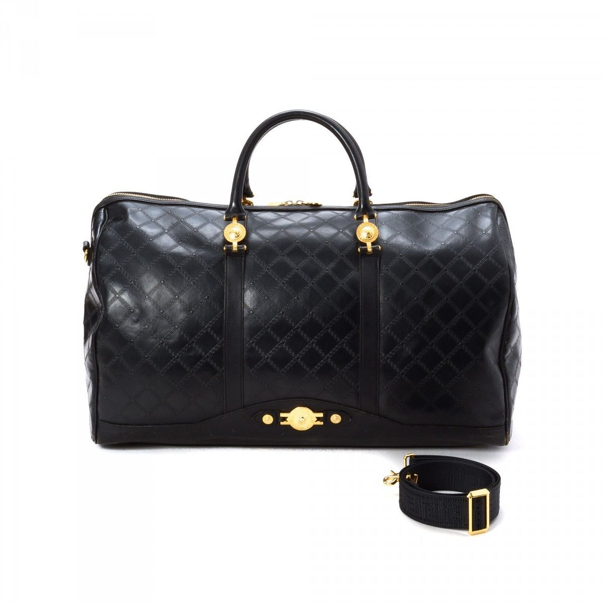 8f578d92abba Travel Bag. LXRandCo guarantees this is an authentic vintage Versace travel  bag. This classic overnight bag comes in beautiful leather. Good condition   (AB)