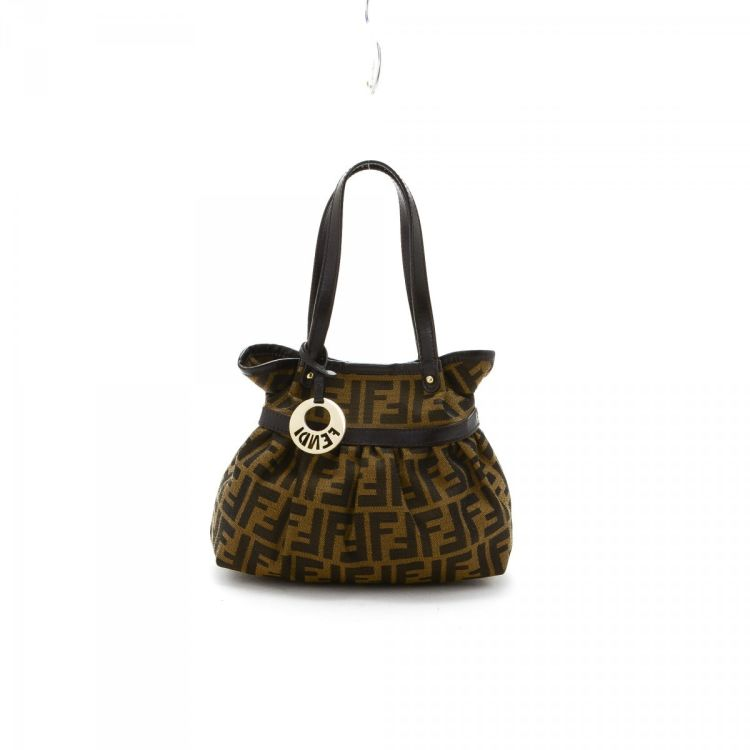 41045835534f The authenticity of this vintage Fendi Mini Chef Bag handbag is guaranteed  by LXRandCo. Crafted in zucca canvas
