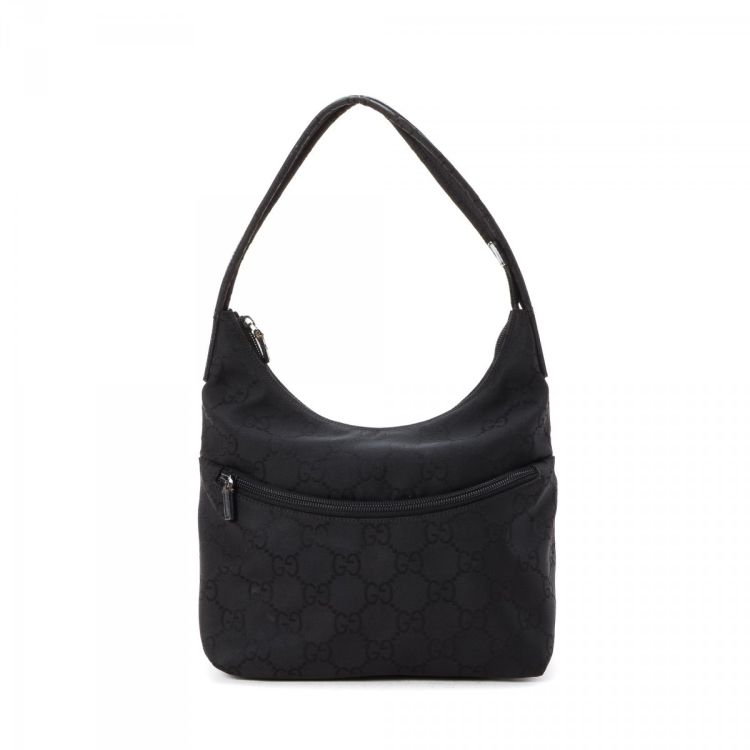 6585edbc0ff LXRandCo guarantees the authenticity of this vintage Gucci GG Hobo shoulder  bag. This classic purse in black is made in gg nylon. Due to the vintage  nature ...