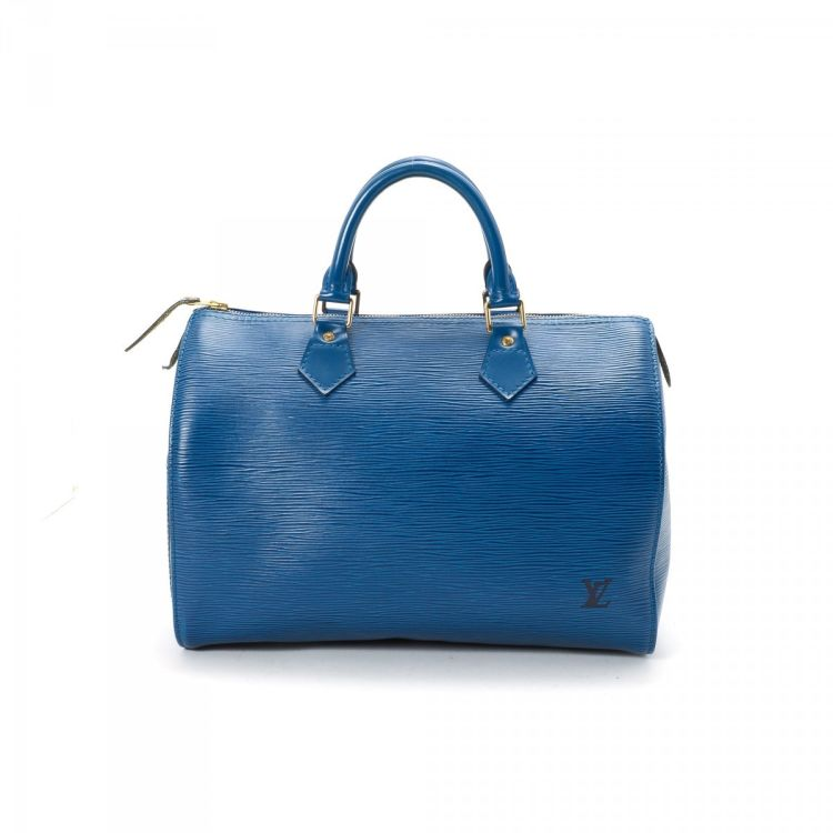59ea30e0a6c1 LXRandCo guarantees the authenticity of this vintage Louis Vuitton Speedy 30  handbag. This signature bag in blue is made in epi leather.