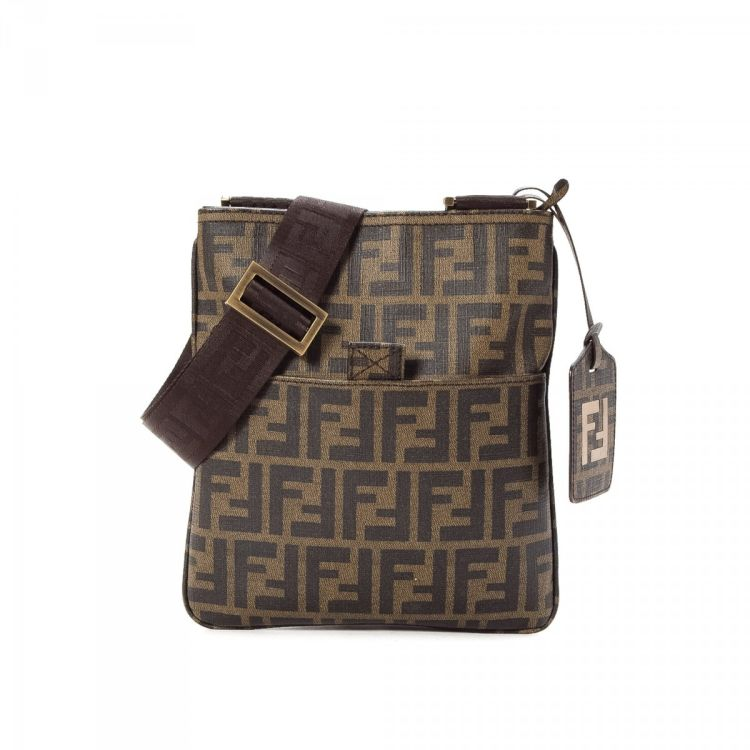 5cbc8325029b LXRandCo guarantees this is an authentic vintage Fendi Crossbody Bag  messenger   crossbody bag. This everyday saddle bag in brown is made in  zucca canvas.