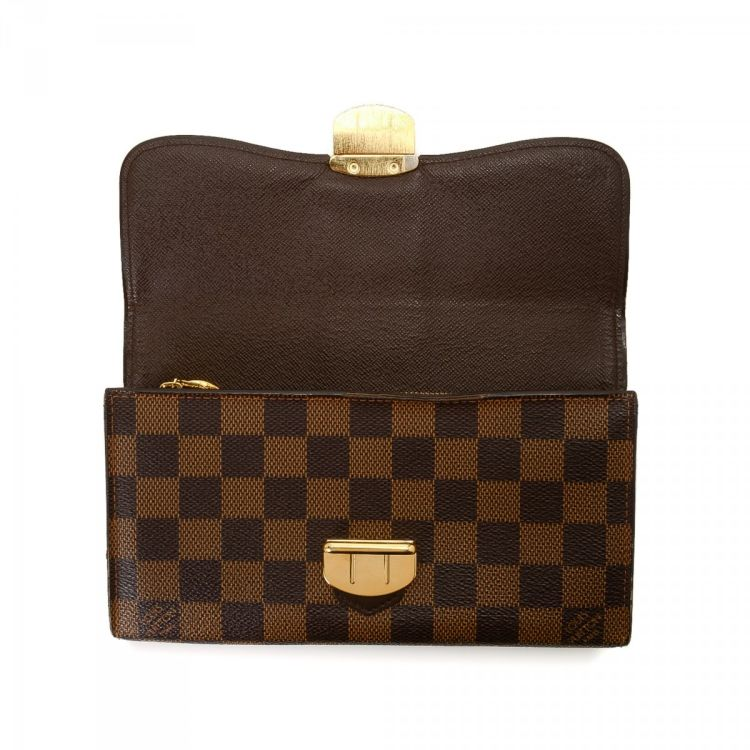 b9a9a543aeb6b LXRandCo guarantees the authenticity of this vintage Louis Vuitton Sistina  wallet. Crafted in damier ebene coated canvas
