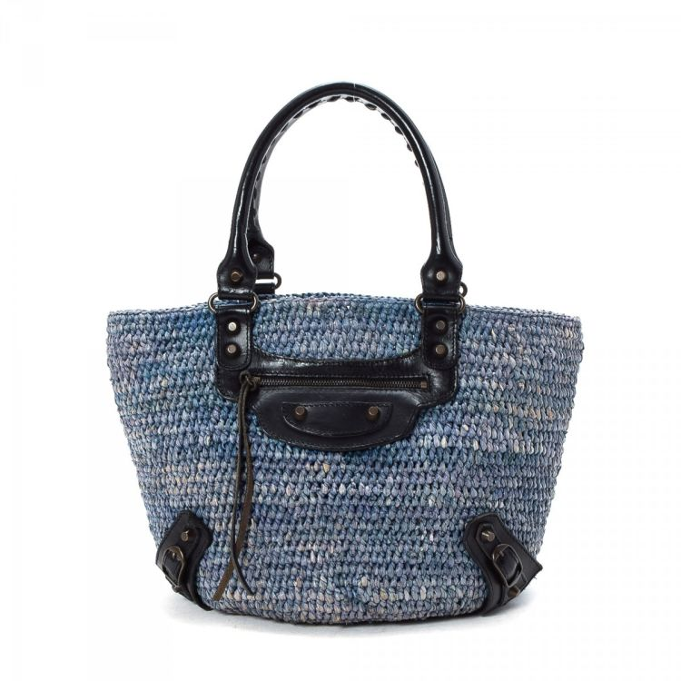 ac44bb2f2b65 LXRandCo guarantees this is an authentic vintage Balenciaga Raffia Basket Bag  tote. This lovely bag was crafted in straw in blue. Very good condition* (A)