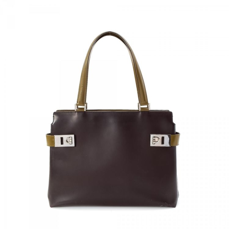 cba82ebdbe9b ... Ferragamo Tote Leather - LXRandCo - Pre-Owned Luxury Vintage official  photos 29ccf 51177 ...