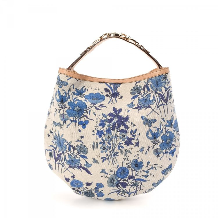 0b8d81e15d9f LXRandCo guarantees the authenticity of this vintage Gucci Floral Hobo Bag  shoulder bag. This everyday bag was crafted in canvas in beautiful blue.