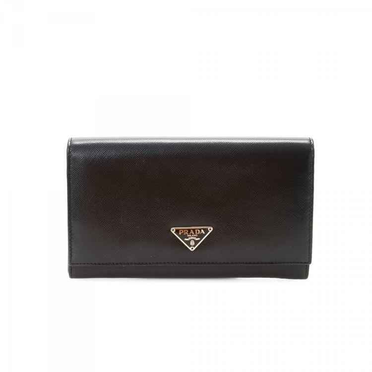 851ce7b96888 Prada Saffiano Long Wallet Saffiano Leather - LXRandCo - Pre-Owned ...