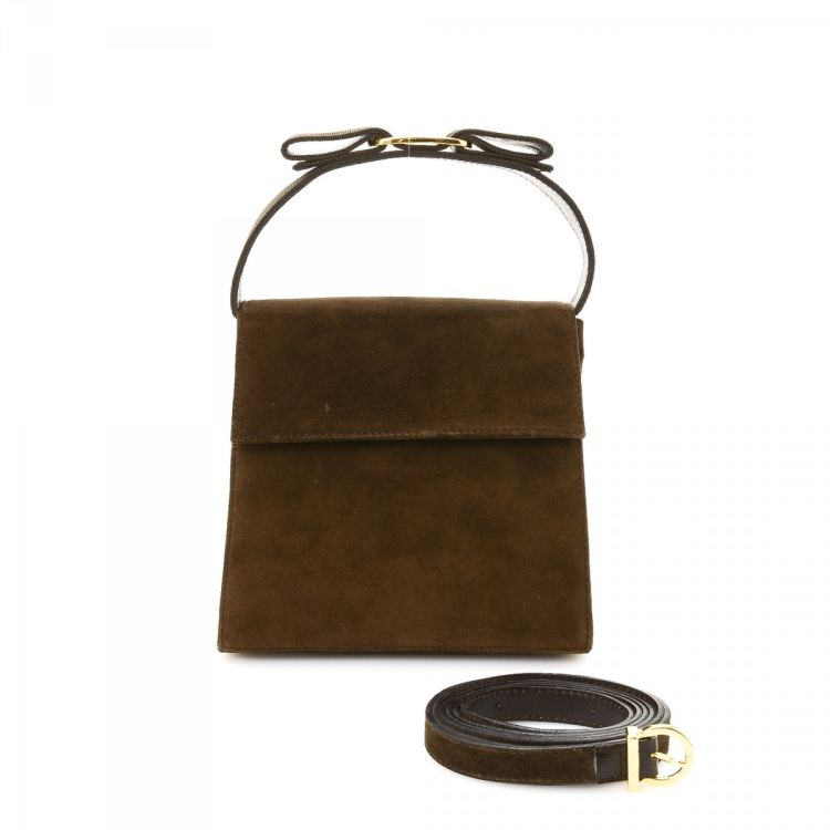 LXRandCo guarantees the authenticity of this vintage Ferragamo Vara Bow Two  Way Shoulder bag. Crafted in suede be6a8dbe0bf68