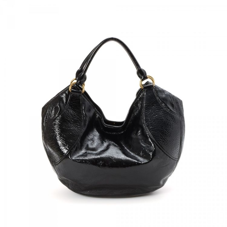LXRandCo guarantees the authenticity of this vintage Miu Miu Hobo Bag  shoulder bag. This lovely purse in beautiful black is made of patent  leather. 6d32dfc3c3b96