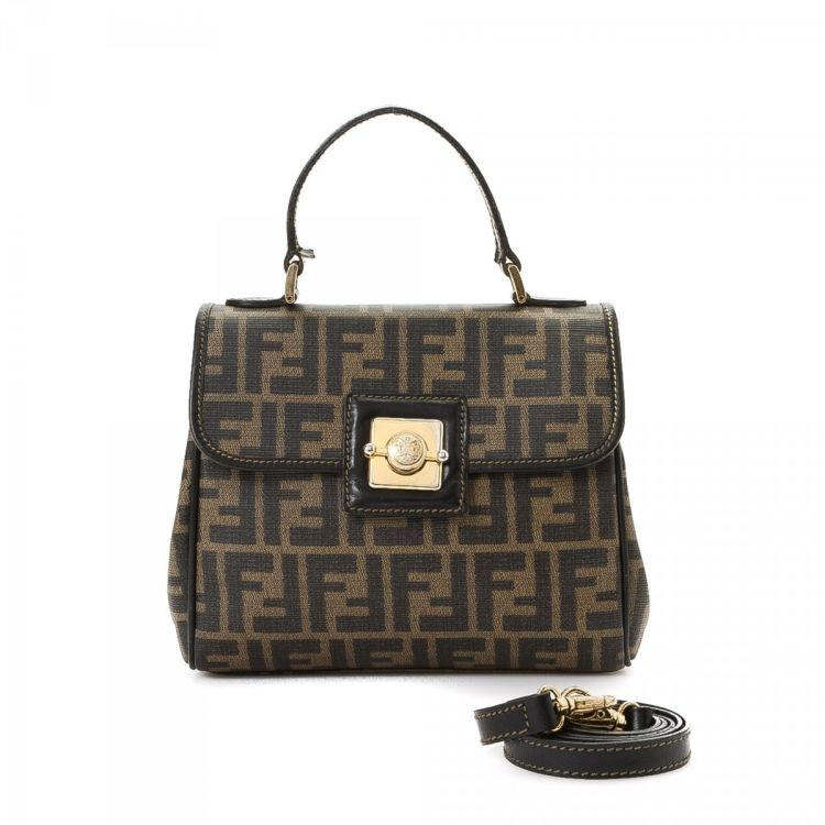 4e30cc3debcc LXRandCo guarantees the authenticity of this vintage Fendi Two Way Bag  handbag. This signature bag in brown is made in zucca coated canvas.