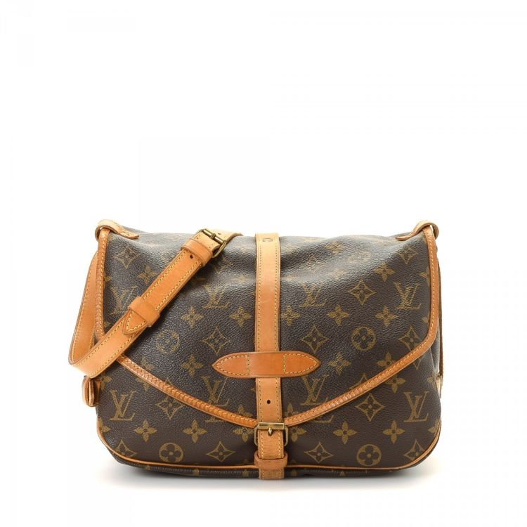 fa041102ce26 ... authenticity of this vintage Louis Vuitton Saumur 30 messenger    crossbody bag. This exquisite crossbody was crafted in monogram coated  canvas in brown.