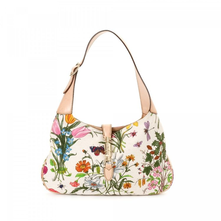 370ea60e0ef691 The authenticity of this vintage Gucci Jackie shoulder bag is guaranteed by  LXRandCo. This beautiful pocketbook was crafted in flora canvas in multi  color.