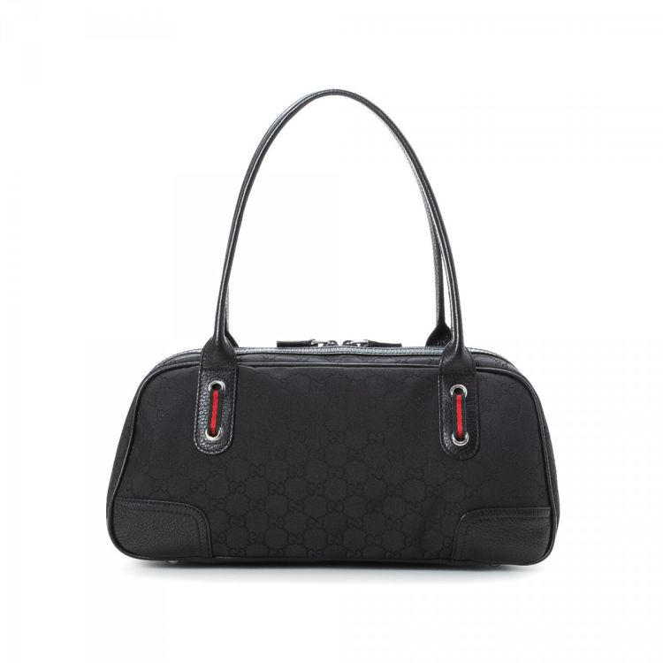 969dc7ee2e8 LXRandCo guarantees this is an authentic vintage Gucci Princy Small Boston  Bag travel bag. This stylish weekend bag in black is made in gg canvas.