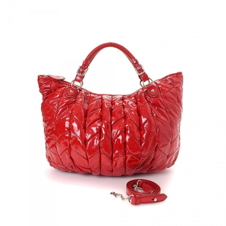 b4a031fd0ec9 Miu Two Way Bag Patent Leather Lxrandco Pre Owned Luxury Vine