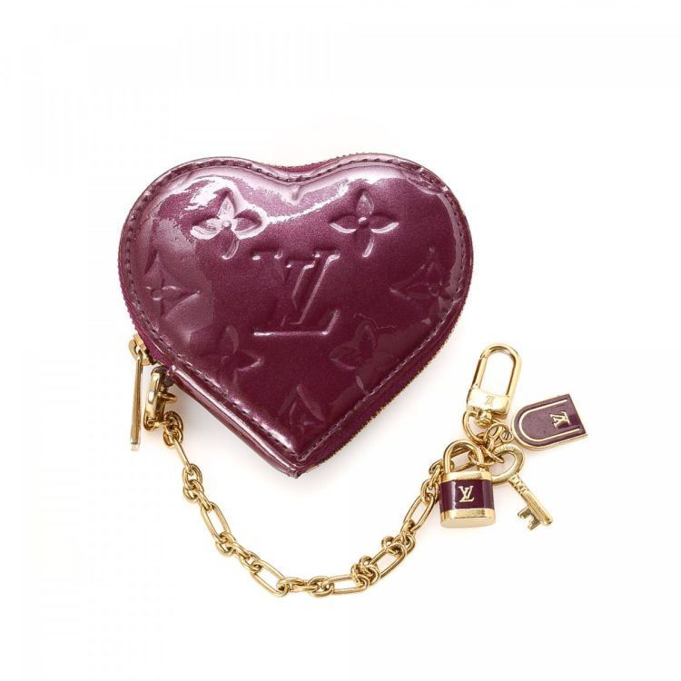 07460f94c7ec LXRandCo guarantees this is an authentic vintage Louis Vuitton Heart Coin  Purse wallet. Crafted in vernis patent leather