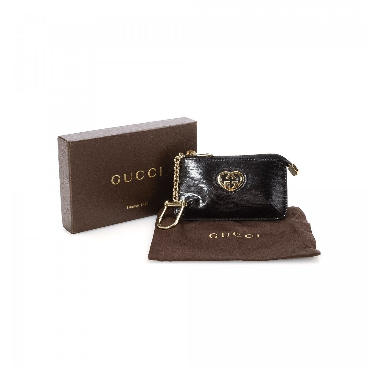 a590d5d17845 Gucci Lovely Heart Key Chain Coin Case Leather - LXRandCo - Pre ...