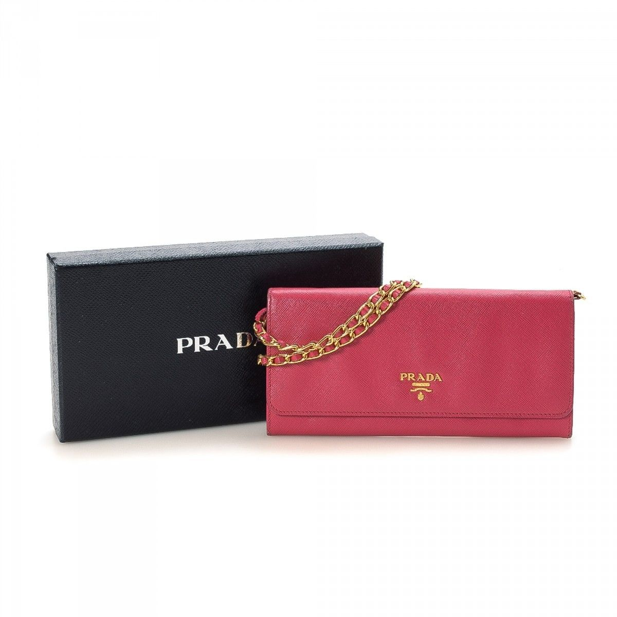 c37a9a3d2f3f87 Prada Chain Wallet Saffiano Lux Leather - LXRandCo - Pre-Owned ...
