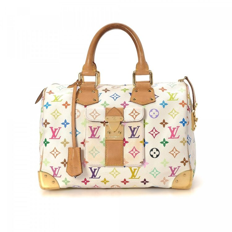 5f2ecbff78959 LXRandCo guarantees this is an authentic vintage Louis Vuitton Speedy 30  handbag. This everyday purse was crafted in multicolor coated canvas in  white.