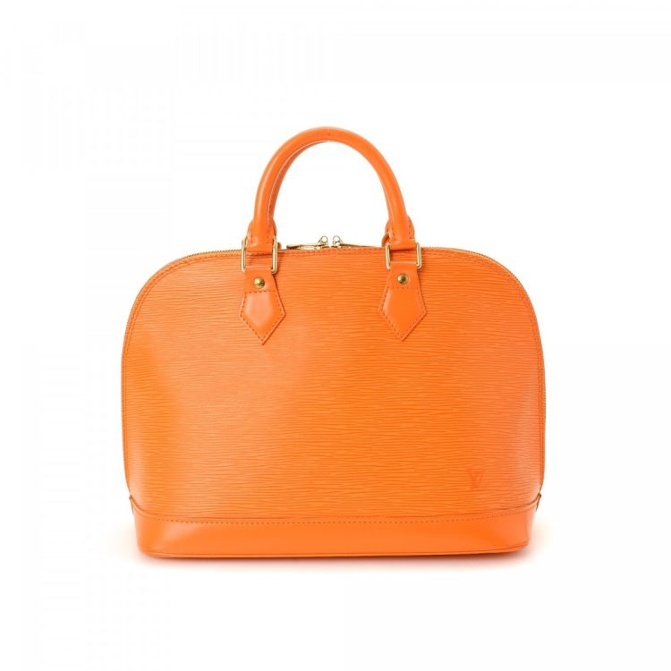 f780209cb1d94 LXRandCo guarantees the authenticity of this vintage Louis Vuitton Alma  handbag. This beautiful purse was crafted in epi leather in mandarin.