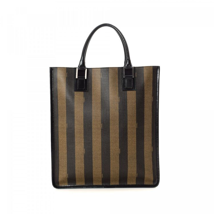271cda107a LXRandCo guarantees this is an authentic vintage Fendi tote. This everyday  large handbag was crafted in pequin coated canvas in beautiful brown.