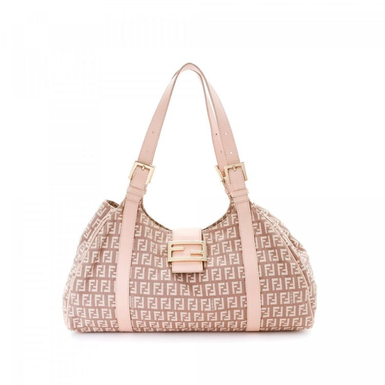 be569f036 The authenticity of this vintage Fendi shoulder bag is guaranteed by  LXRandCo. This iconic purse was crafted in zucchino canvas in beautiful  light pink.